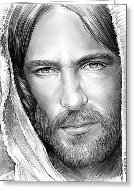 Jesus Face Greeting Card by Greg Joens