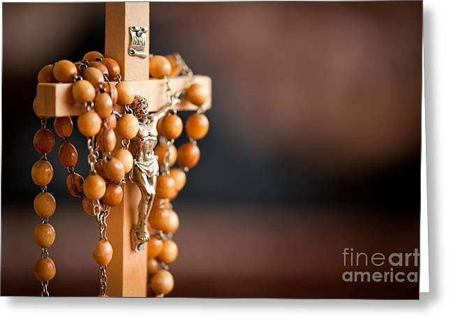 Jesus Figurine And Rosary Greeting Card