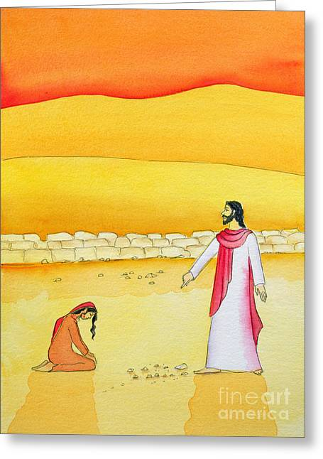 Jesus Forgives The Woman Caught In Adultery Greeting Card