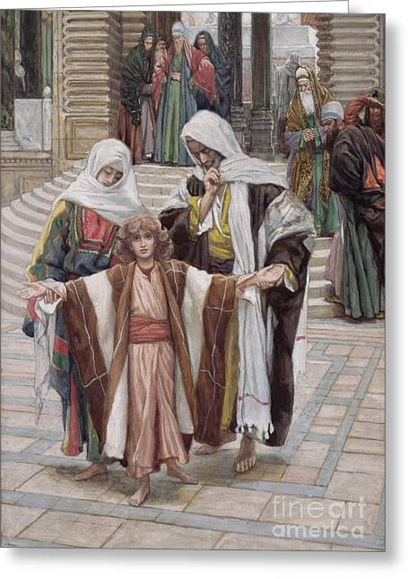 Jesus Found In The Temple Greeting Card by Tissot