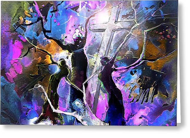 Jesus From Cross Greeting Card by Miki De Goodaboom