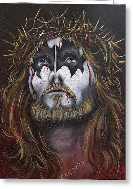 Jesus H. Simmons Greeting Card by Chad Chase