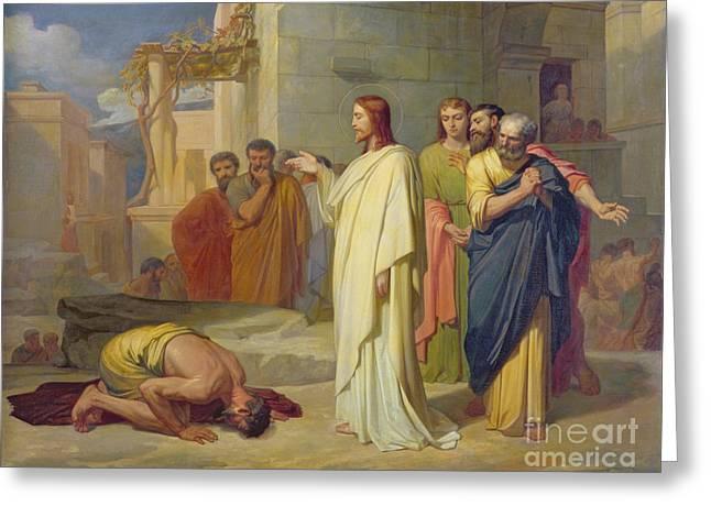 Jesus Healing The Leper Greeting Card