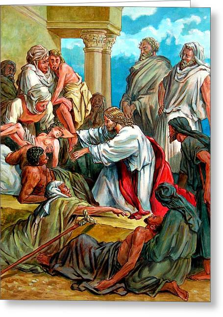 Biblical Scene Greeting Cards - Jesus Healing the Sick Greeting Card by John Lautermilch