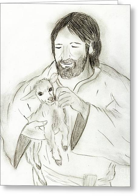 Jesus Holding Lamb Greeting Card