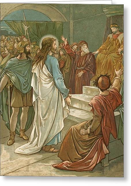 Jesus In Front Of Pilate Greeting Card by John Lawson