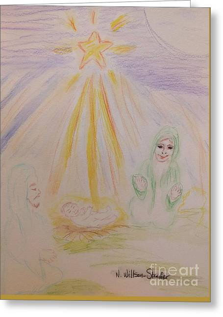 Jesus Is Born Greeting Card by N Willson-Strader