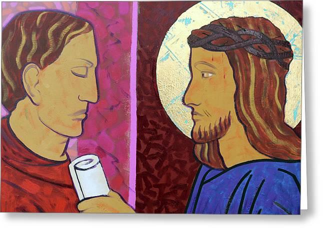 Jesus Is Condemned Greeting Card by Sara Hayward
