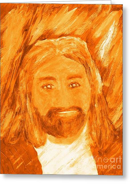 Greeting Card featuring the painting Jesus Is The Christ The Holy Messiah 3 by Richard W Linford