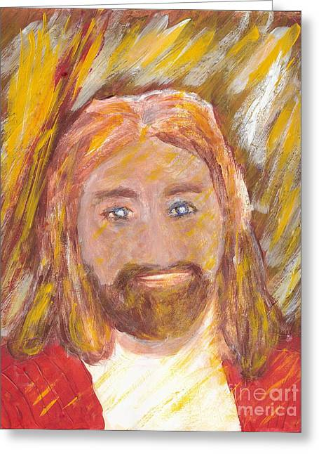 Greeting Card featuring the painting Jesus Is The Christ The Holy Messiah 5 by Richard W Linford
