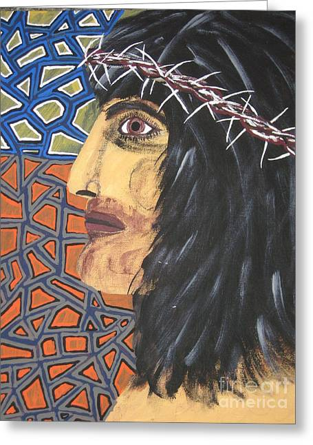 Greeting Card featuring the painting Jesus by Jeffrey Koss