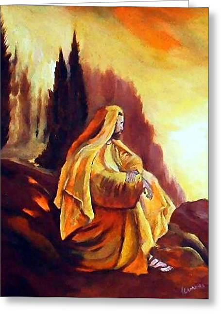 Jesus On The Mountain Greeting Card by Julie Lamons