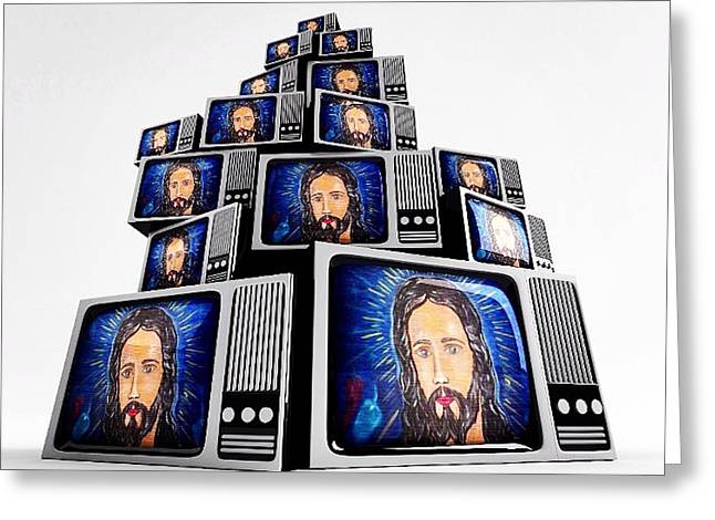 Jesus On Tv Greeting Card