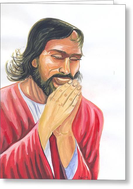 Greeting Card featuring the painting Jesus Praying by Emmanuel Baliyanga