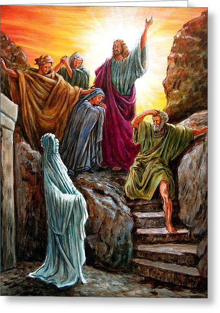 Jesus Raises Lazarus Greeting Card by John Lautermilch