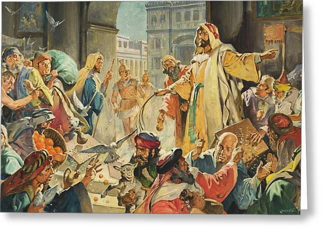 Paper Money Greeting Cards - Jesus Removing the Money Lenders from the Temple Greeting Card by James Edwin McConnell