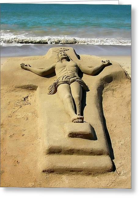 Jesus Sand Sculpture Greeting Card