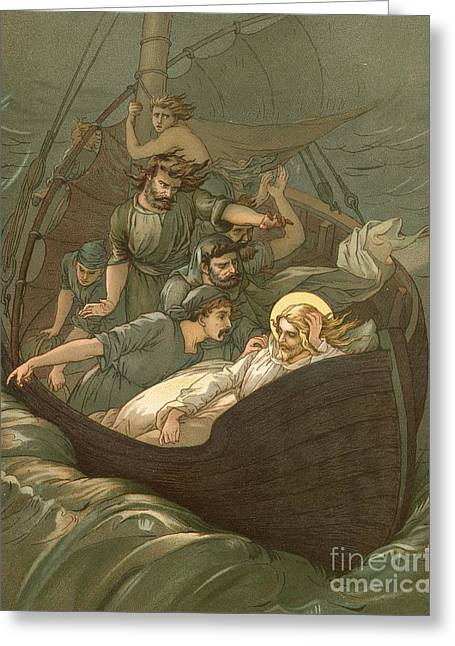 Bible Greeting Cards - Jesus Sleeping During The Storm Greeting Card by John Lawson