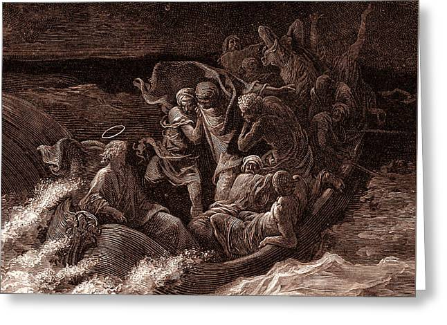 Jesus Stilling The Tempest Greeting Card by Gustave Dore
