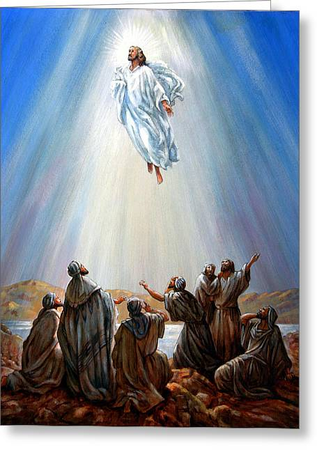 Jesus Taken Up Into Heaven Greeting Card by John Lautermilch