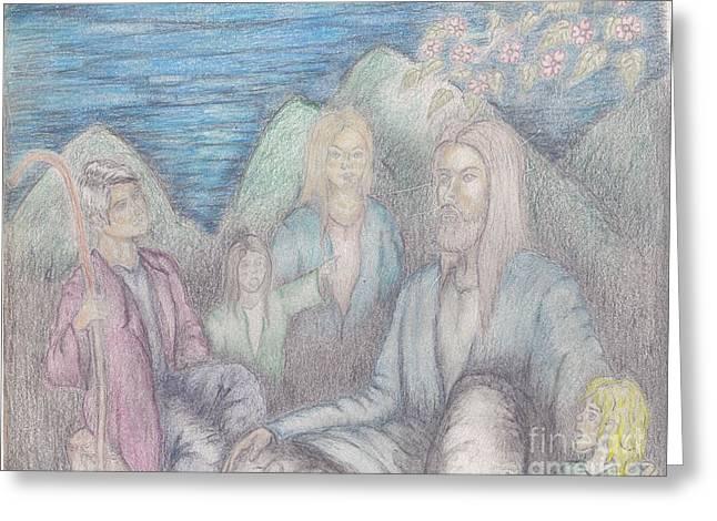 Jesus Teaching The Children Greeting Card by Thomas Higdon