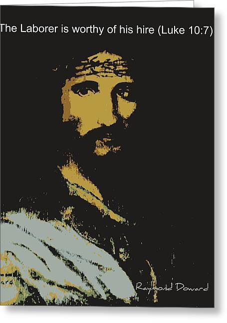 Greeting Card featuring the painting Jesus The Son by Raymond Doward