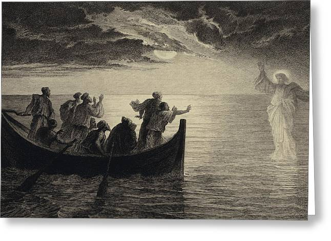 Jesus Walking On The Sea Greeting Card by Albert Robida
