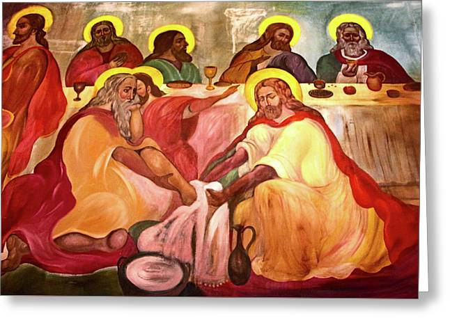 Jesus Washes His Disciples Feet Greeting Card by Munir Alawi
