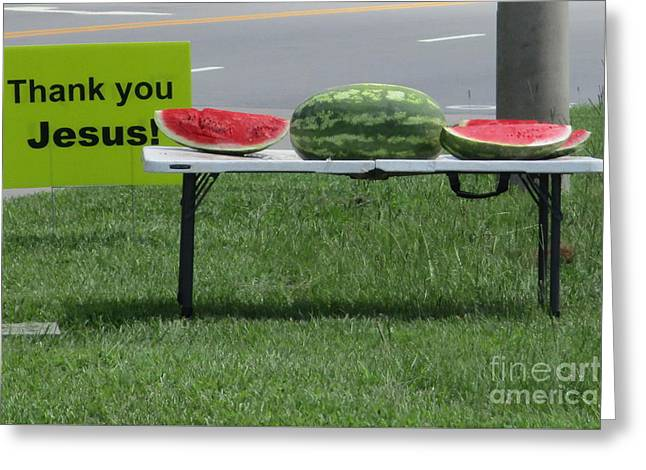 Jesus Watermelon Greeting Card