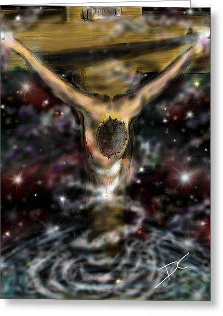 Greeting Card featuring the digital art Jesus World by Darren Cannell