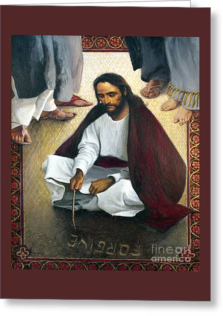 Jesus Writing In The Sand - Lgjws Greeting Card by Louis Glanzman