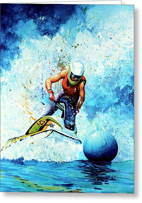 Skiing Poster Greeting Cards - Jet Blue Greeting Card by Hanne Lore Koehler