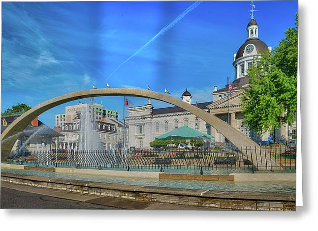 Jet Over City Hall Greeting Card by Ian Sempowski