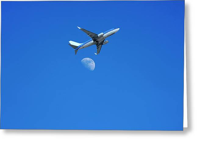 Jet Plane Flying Over The Moon Greeting Card