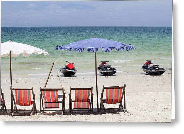 Jet Ski And Deck Chair Greeting Card by Anek Suwannaphoom