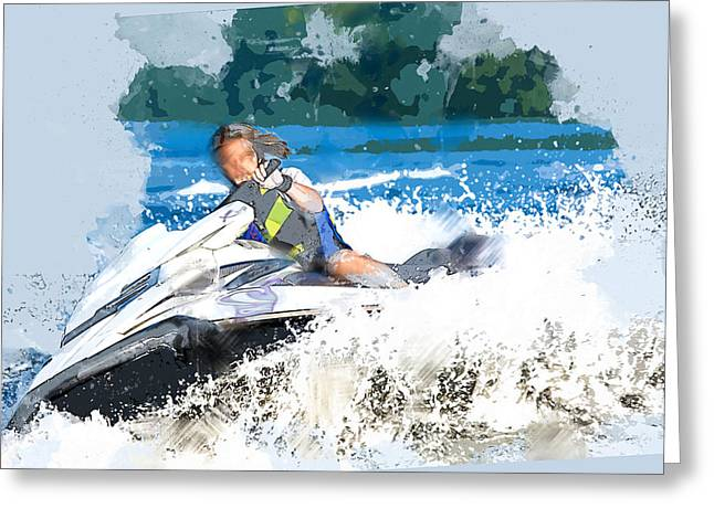 Jet Skiing In The Lake Greeting Card