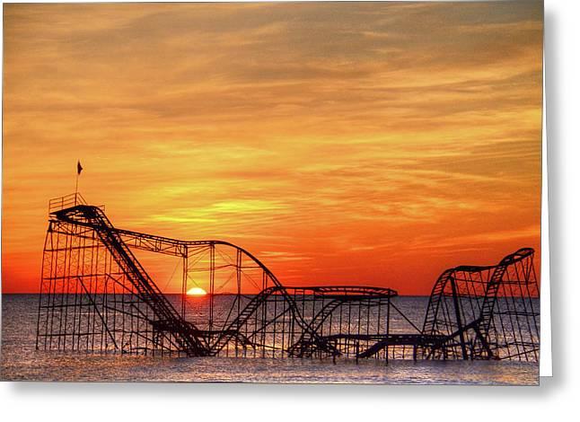 Jet Star Sunrise, Seaside Heights Nj Greeting Card