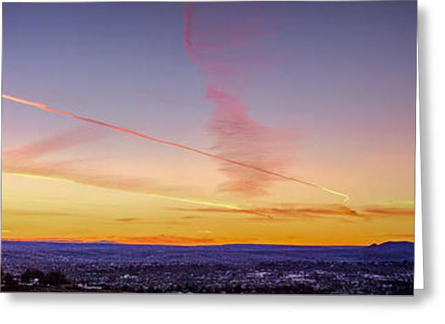 Jet Trails In The Sinset Greeting Card