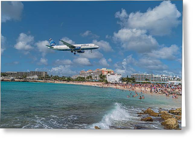 jetBlue at St. Maarten Greeting Card by David Gleeson