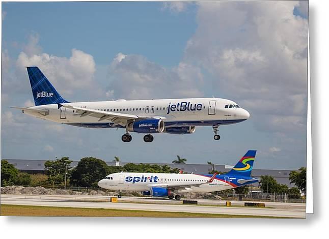 Jetblue Over Spirit Air Greeting Card