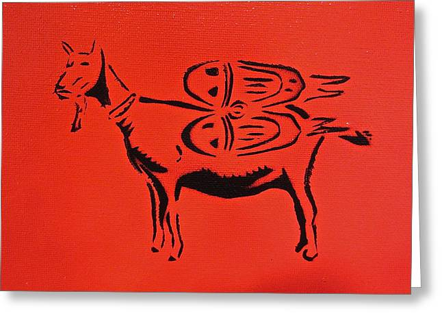Aerosol Paintings Greeting Cards - Jetpack Goat Greeting Card by Tom Evans