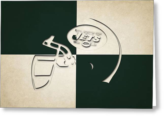 Jets Helmet Art Greeting Card by Joe Hamilton