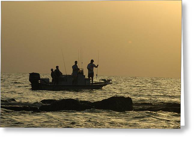 Jetty Fishing In Galveston Bay Greeting Card by Robert Anschutz