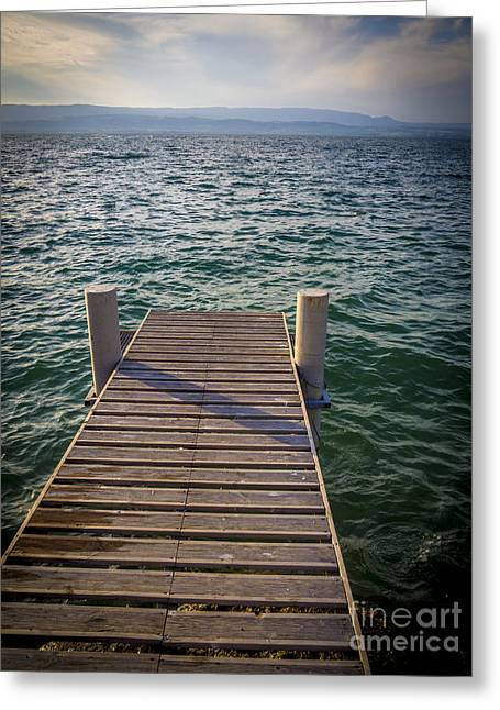 Jetty On Lake Leman Greeting Card by Bernard Jaubert
