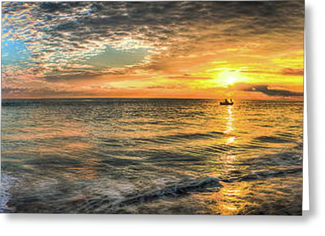 Jetty Sunrise Panorama Greeting Card