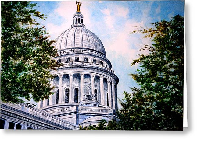 Greeting Card featuring the painting Jewel Of Wisconsin by Thomas Kuchenbecker