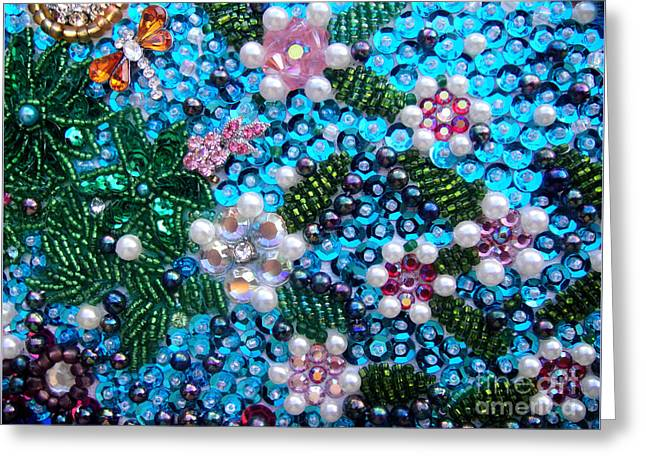 Jeweled Beadwork - Spring Garden 2 Greeting Card by Sofia Metal Queen