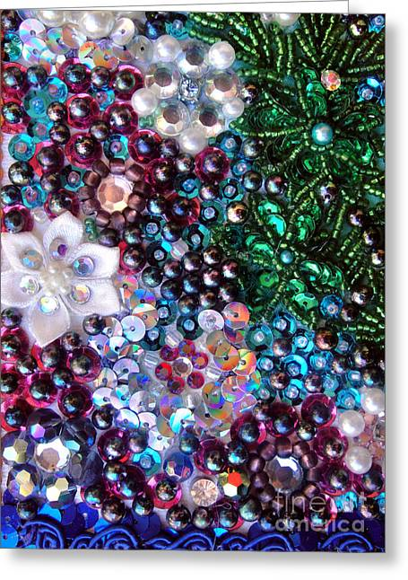 Jeweled Beadwork - Summer Garden 5 Greeting Card by Sofia Metal Queen