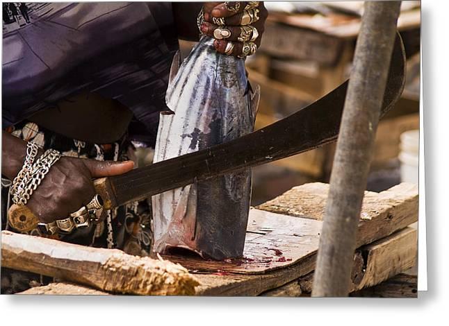 Jeweled Hand Skinning Fish Greeting Card