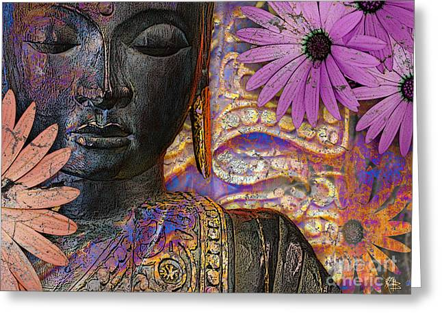 Jewels Of Wisdom - Buddha Floral Artwork Greeting Card by Christopher Beikmann